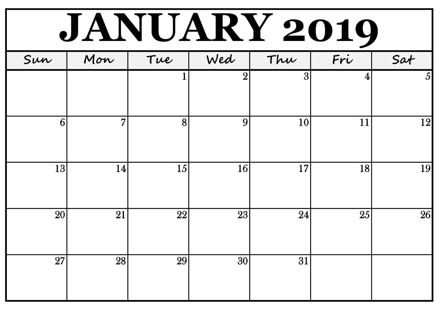 Printable January 2019 Calendar For Office Excel