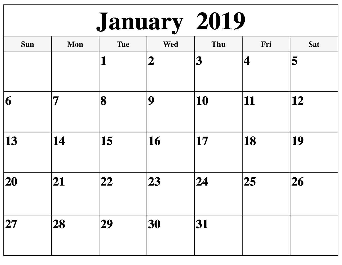 Printable January 2019 Calendar Free Monthly