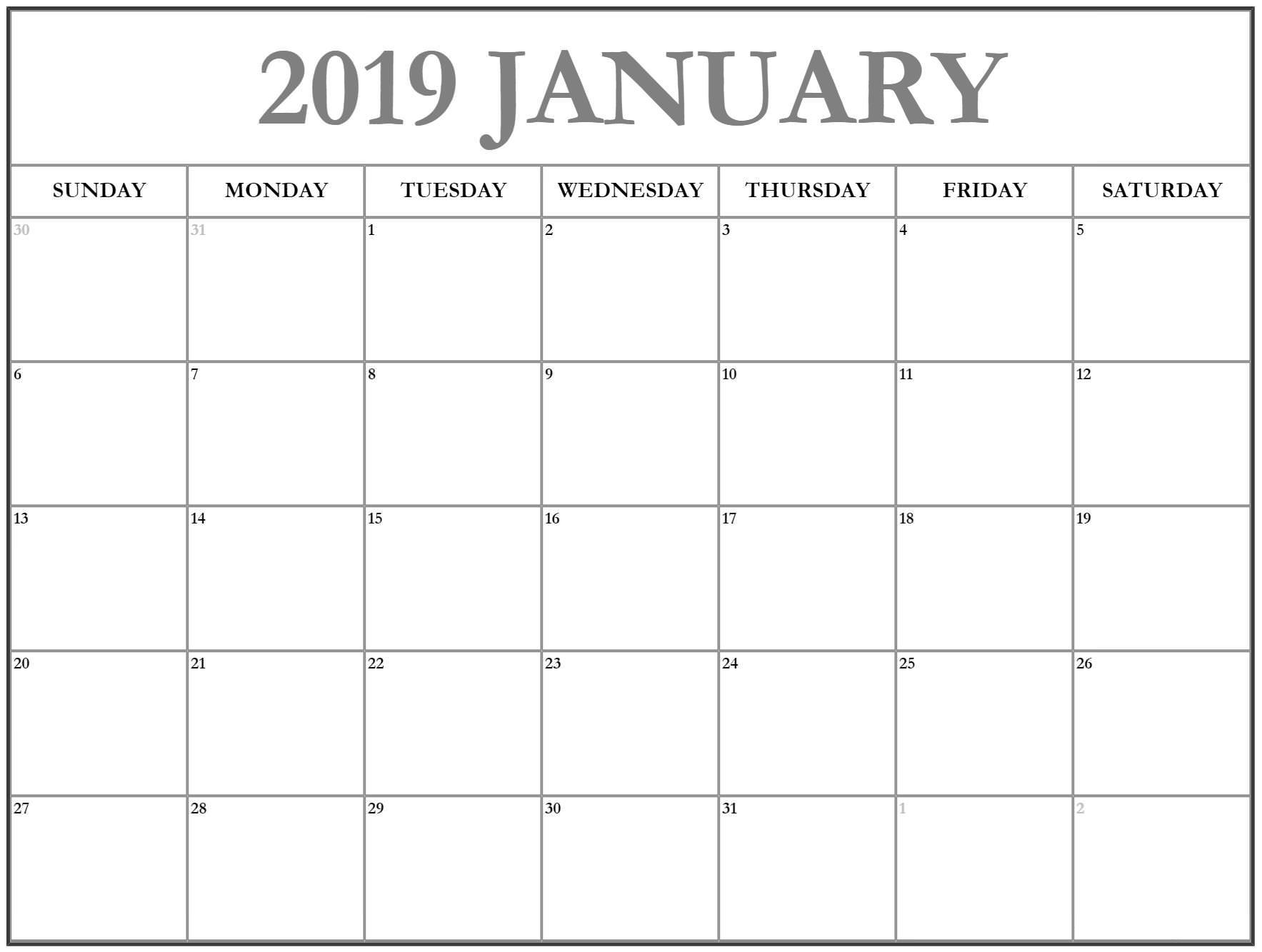 Printable January 2019 Calendar PDF Images