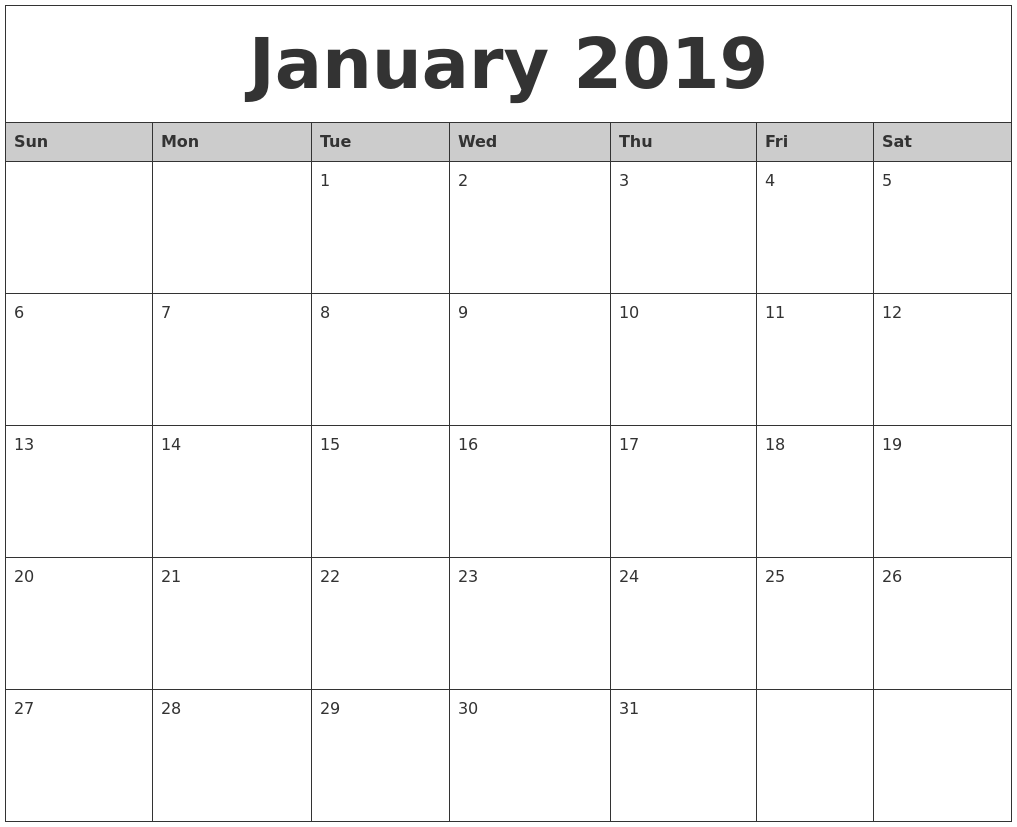 Printable January 2019 Calendar With Notes Template