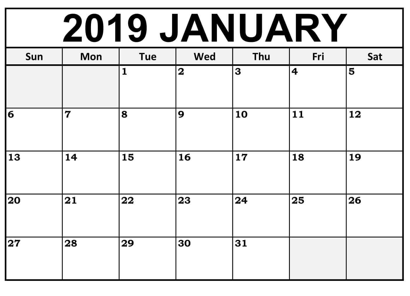 Printable January 2019 Calendar With Notes Wallpaper