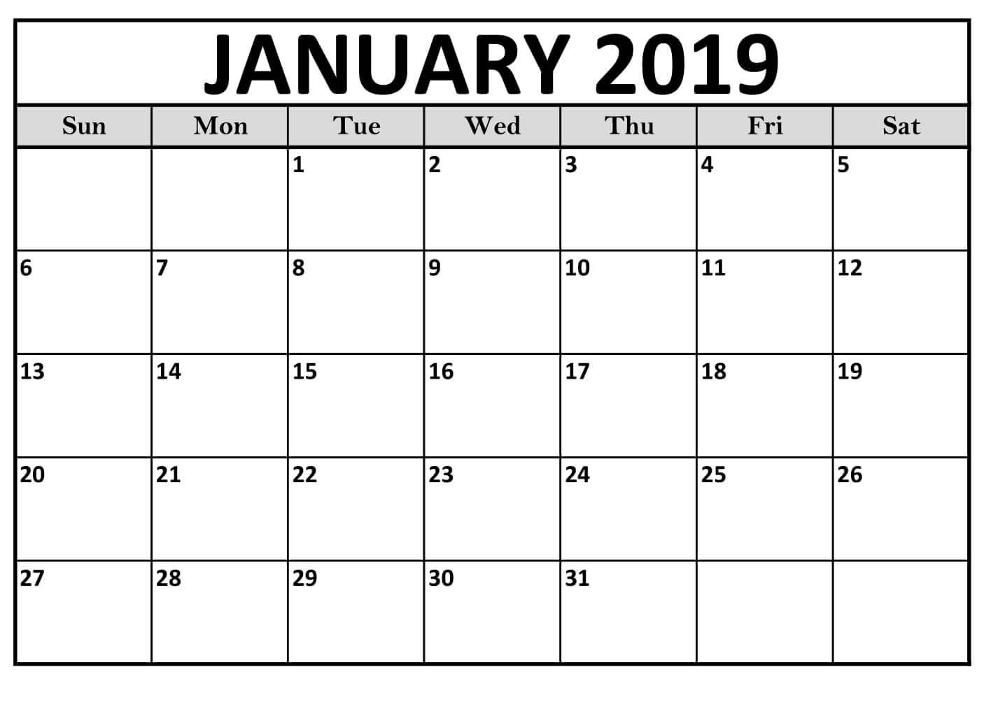 Printable January 2019 Calendar Word Images
