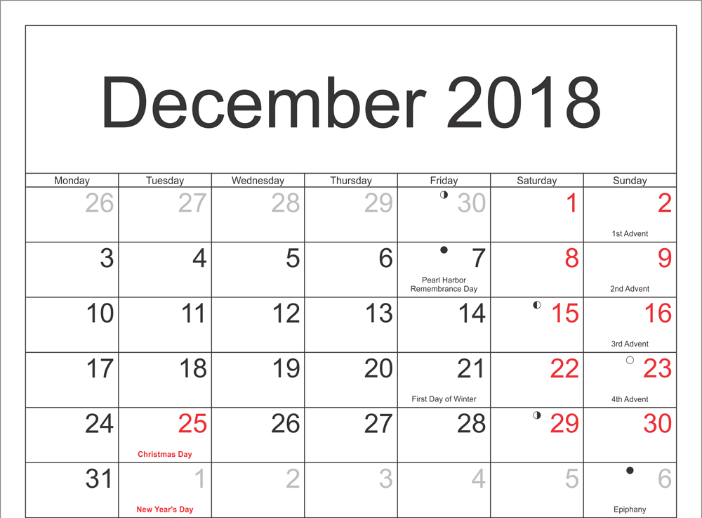 Template Of December 2018 Moon Calendar