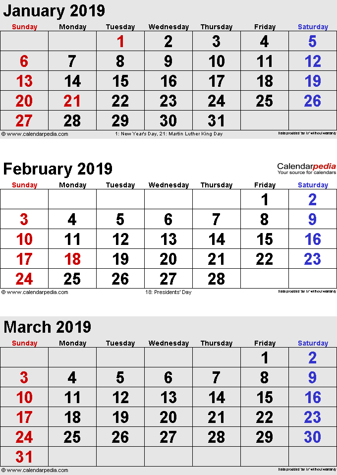 graphic about 3 Month Calendar Printable named 3 Thirty day period Calendar January February March 2019 Printable