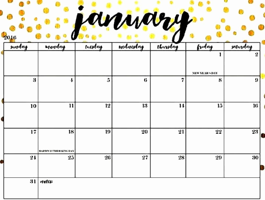 Blank January 2019 Calendar Printable Free Download