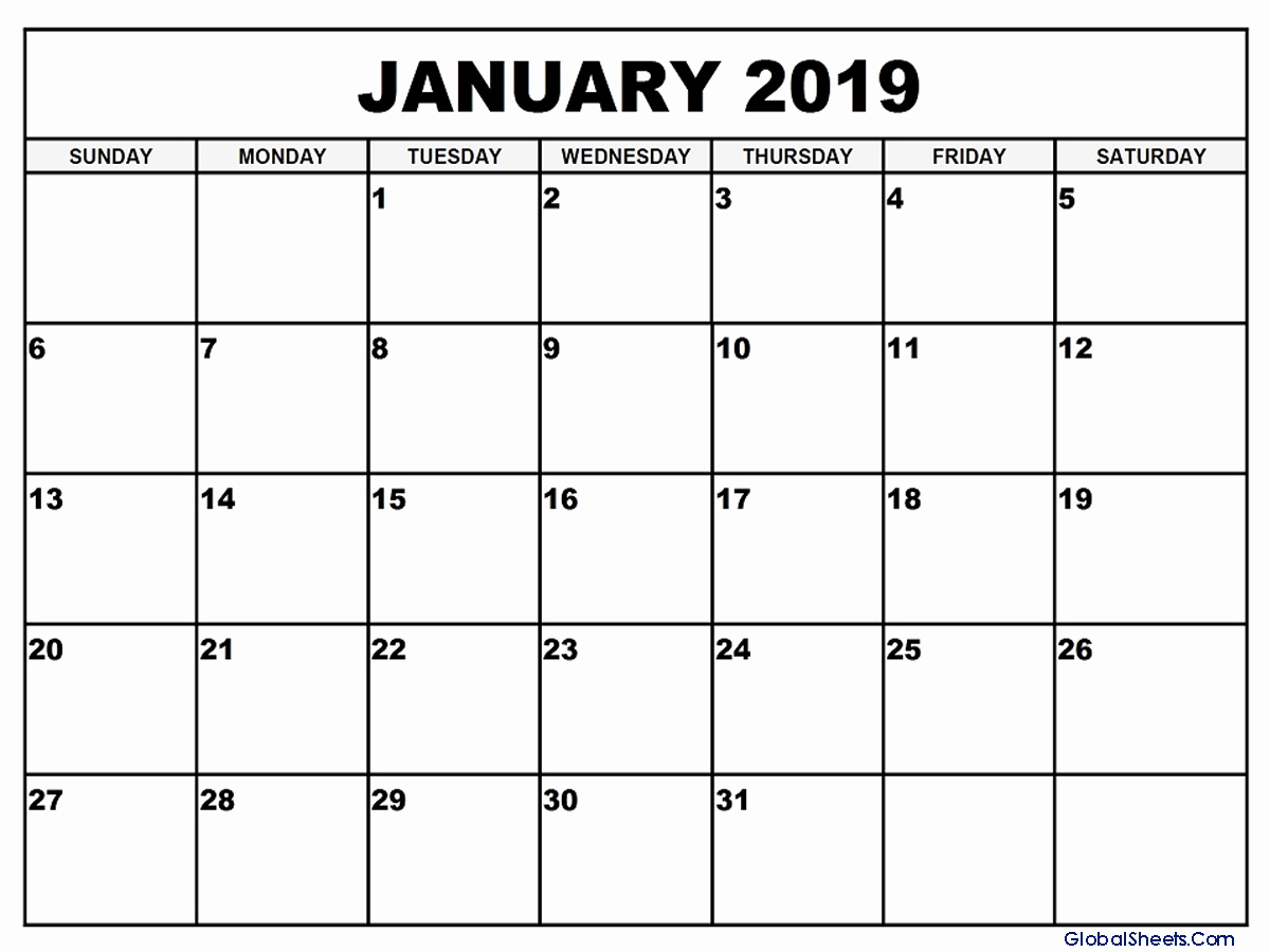 Blank Monthly Calendar January 2019