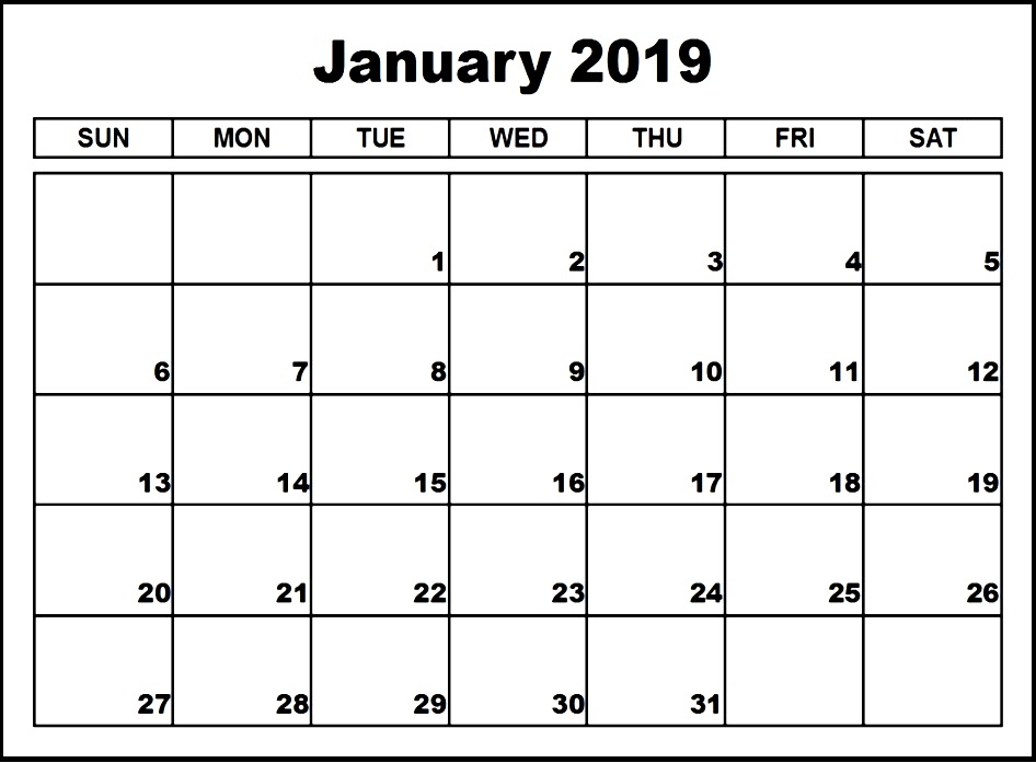 Calendar January 2019 Printable Template