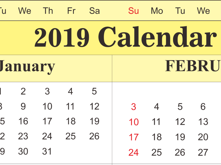 Calendar January February 2019 Free Download