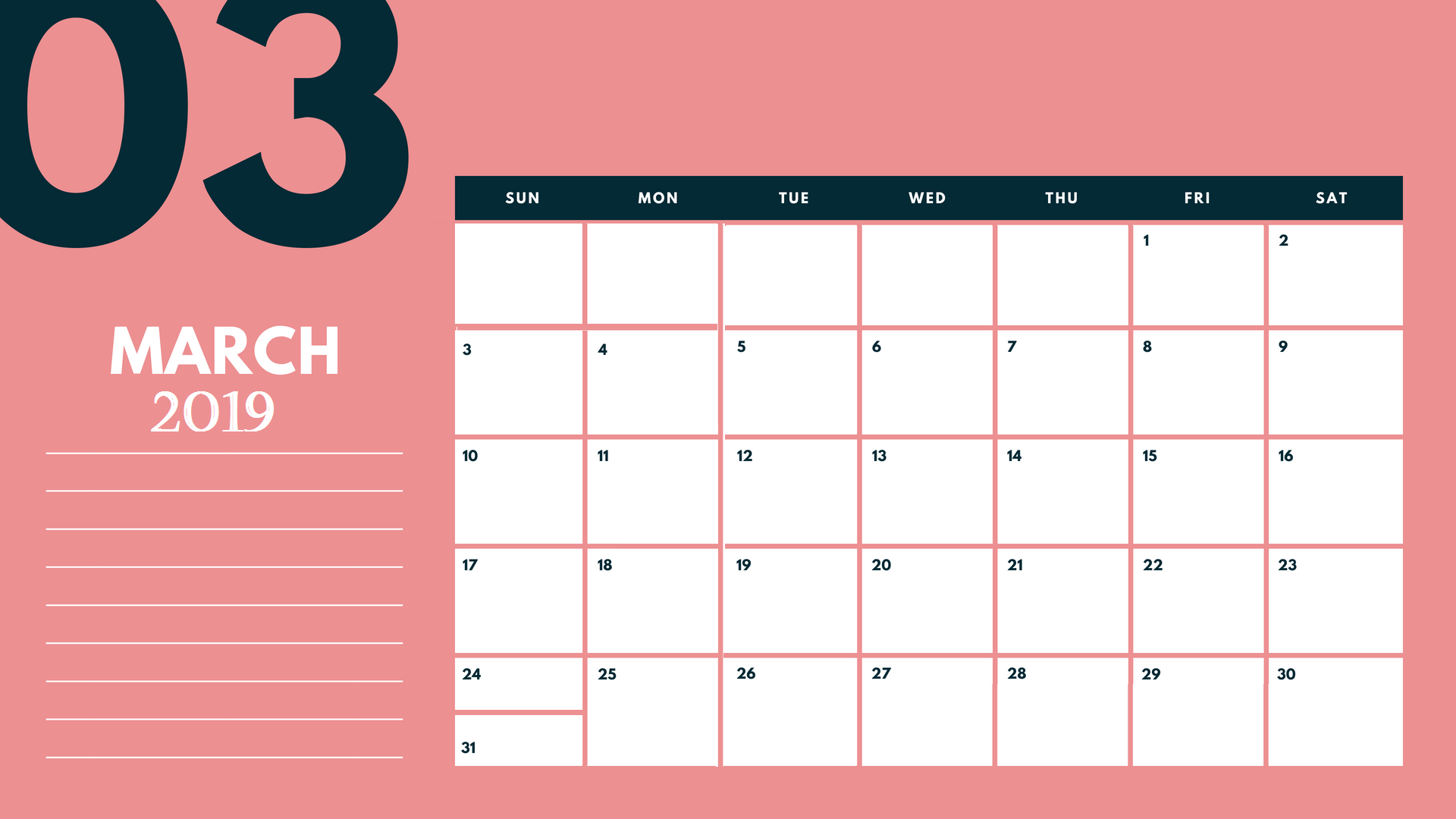 Cute March 2019 Desk Calendar Template