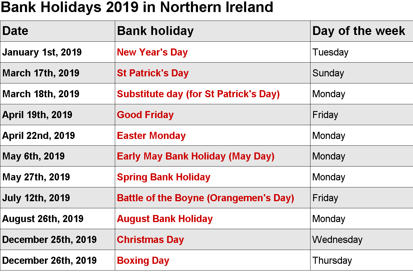 February 2019 Calendar With Bank Holidays