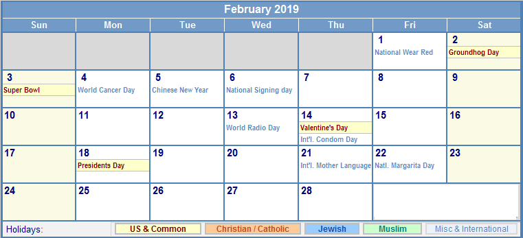 February 2019 Calendar With Holidays Philippines