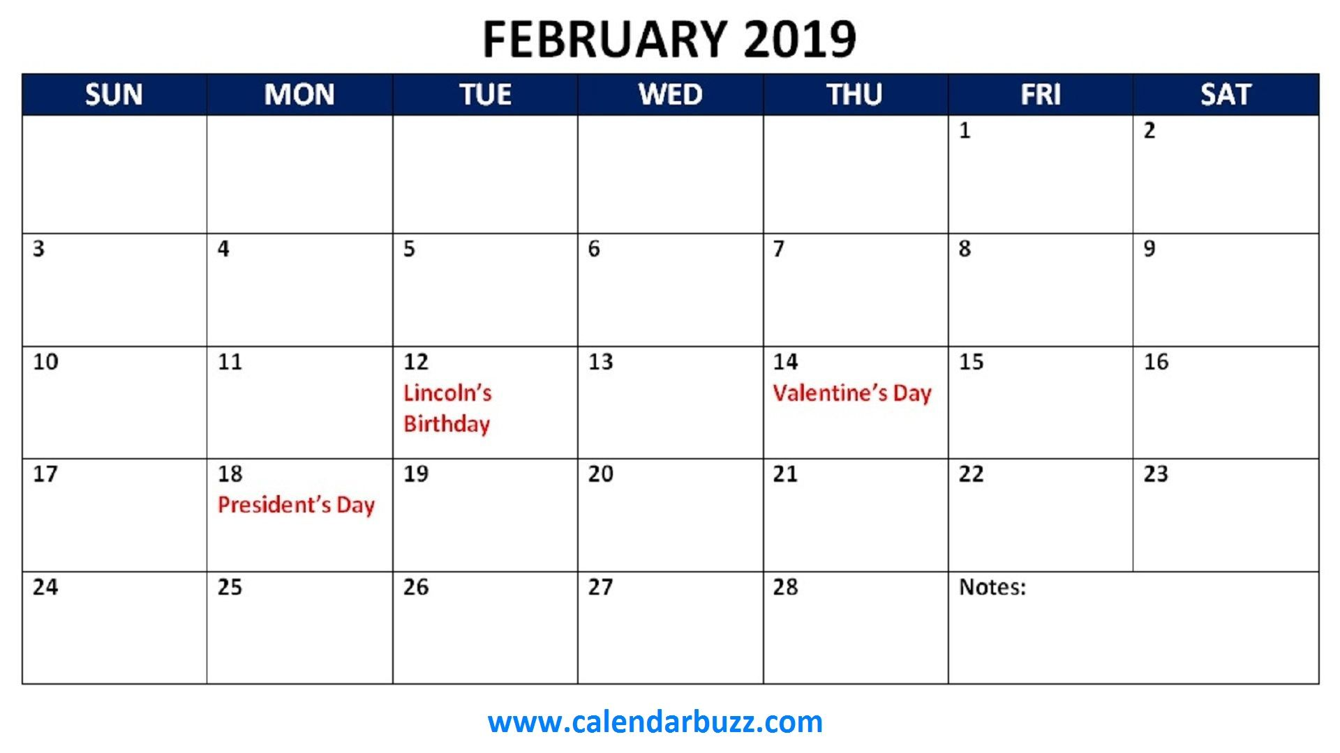 February 2019 Calendar With Holidays Printable