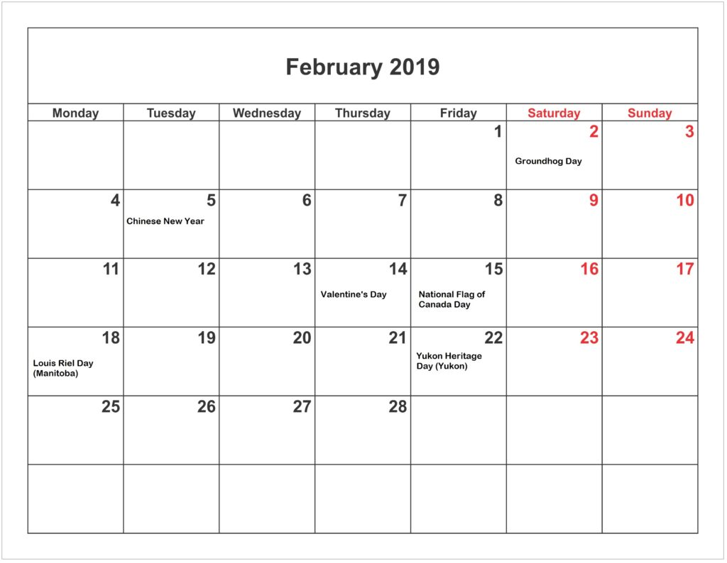 February 2019 Calendar With Holidays Singapore