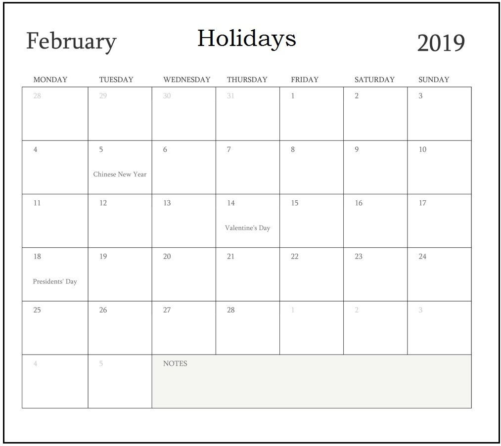 February 2019 Calendar With Holidays UK