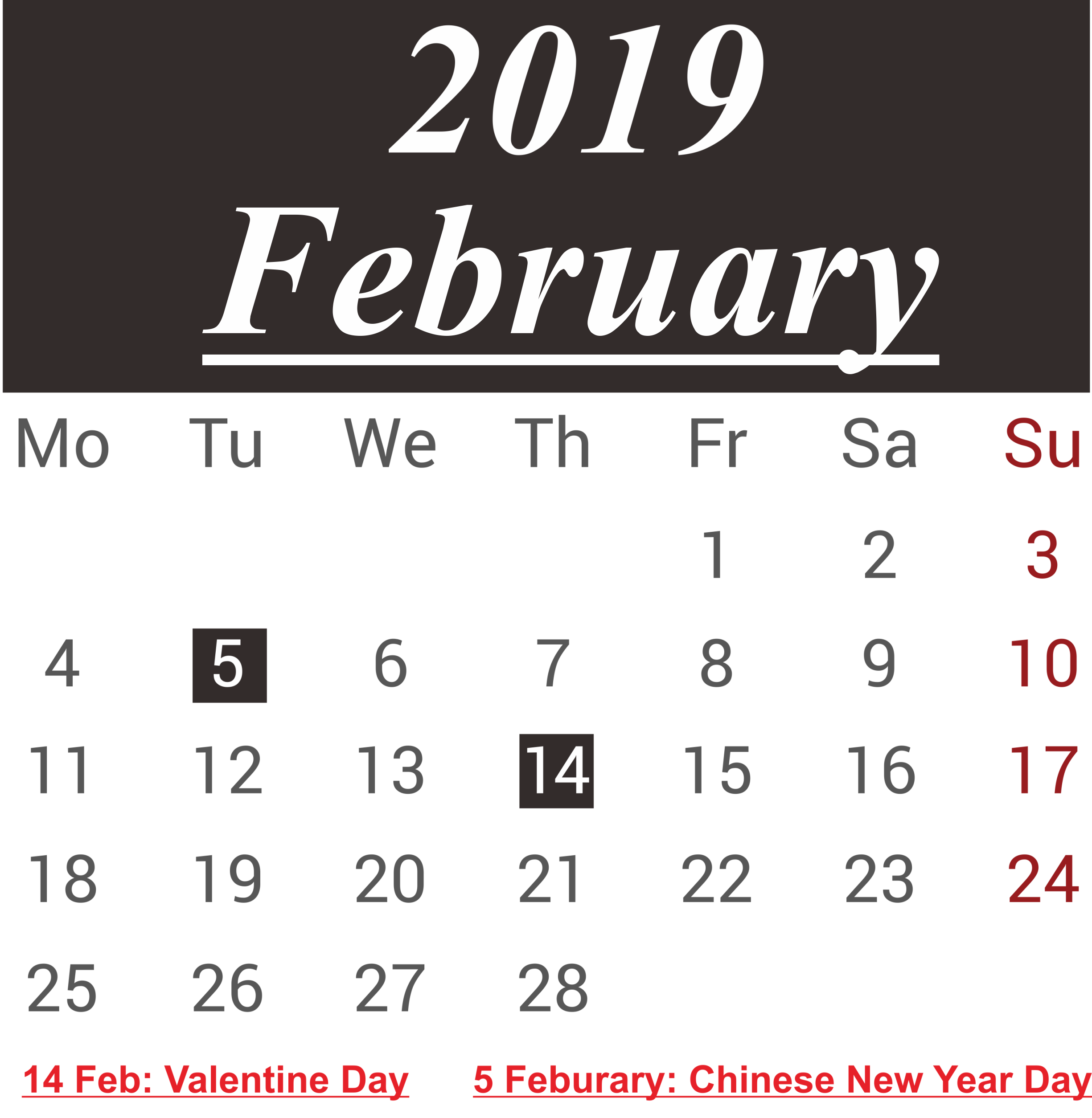 February 2019 Calendar With Holidays USA