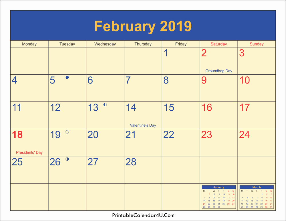 February 2019 Printable Moon Phases Calendar