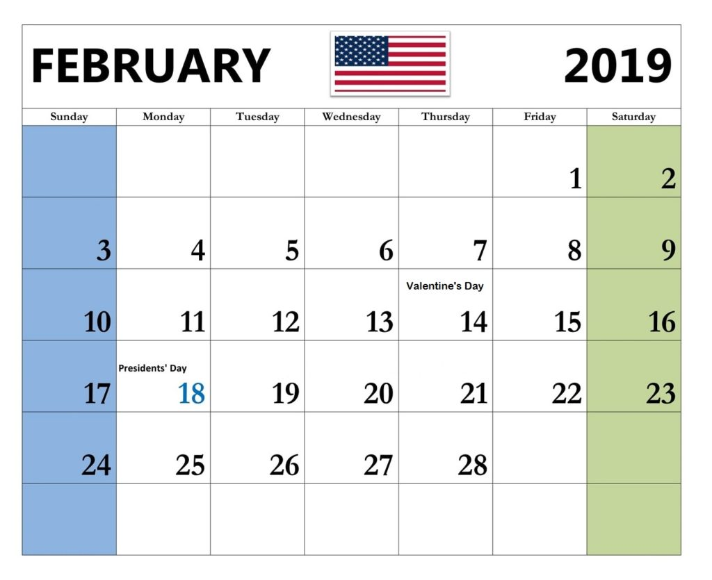 February 2019 United States Holidays Calendar