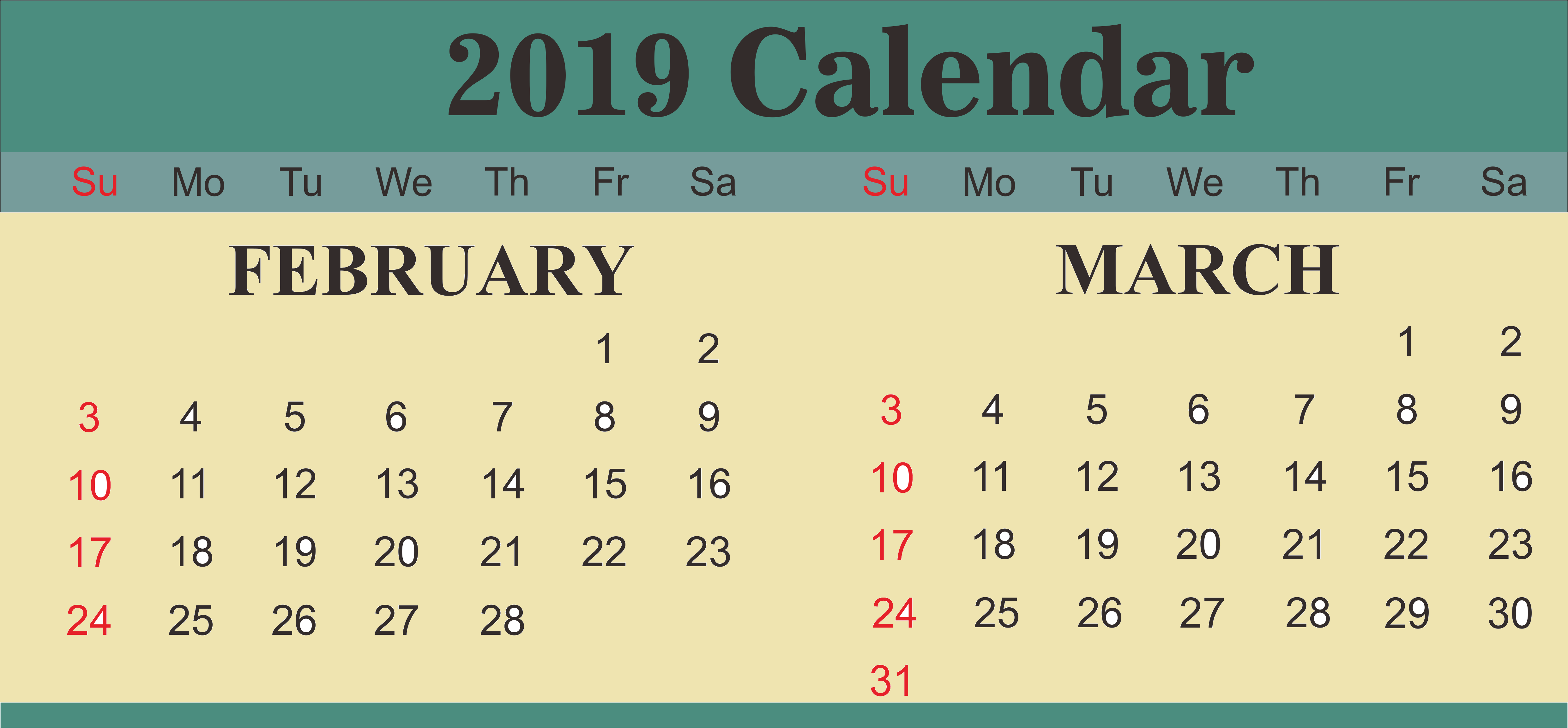 February March 2019 Calendar With Holidays