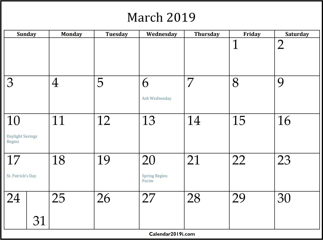 Free Printable March 2019 Calendar Template Word