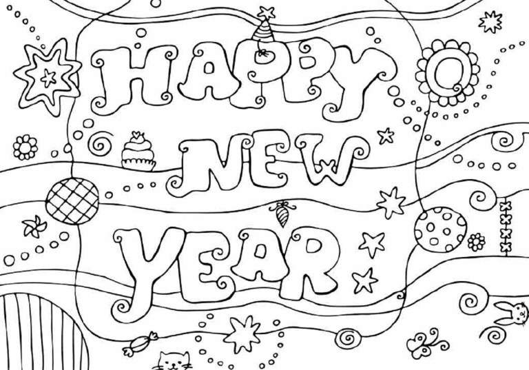 Free Printable Happy New Year 2019 Coloring Pages