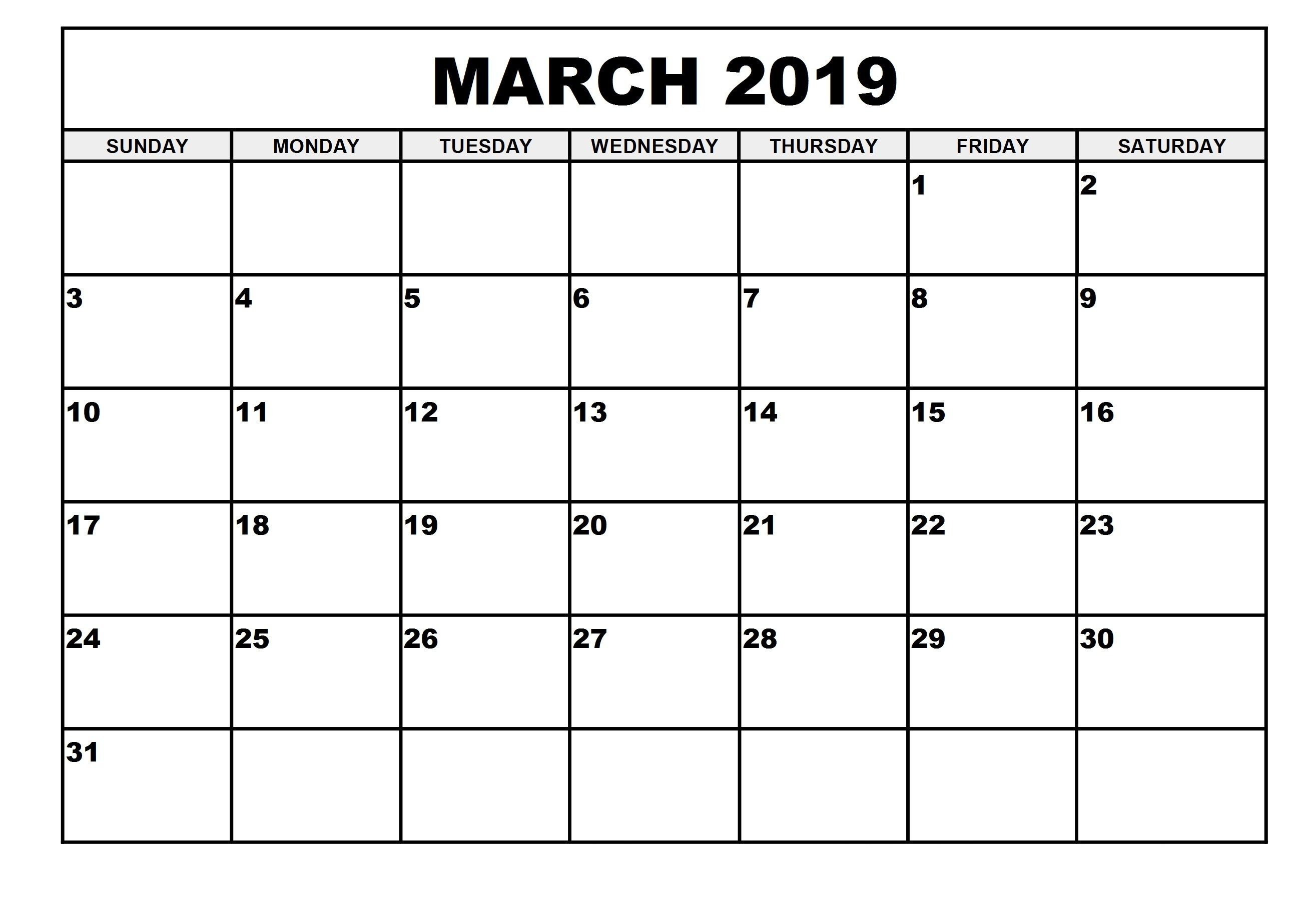 2019 Monthly Printable Calendar March 2019 Calendar