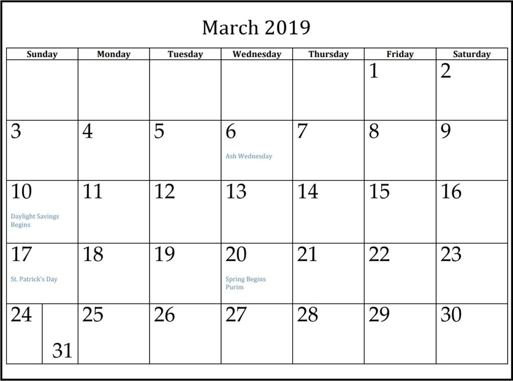 Free Printable March 2019 Calendar With Holidays