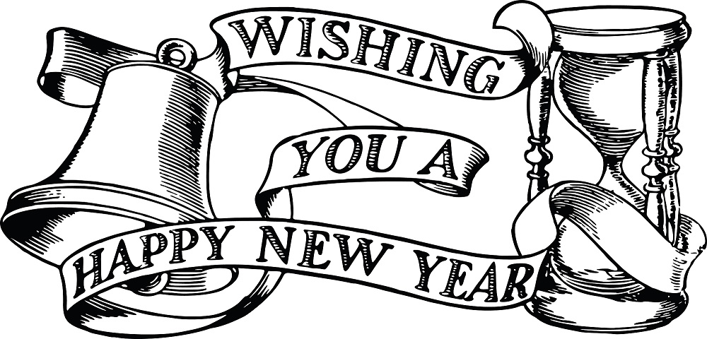 Happy New Year 2019 Clipart Black and White
