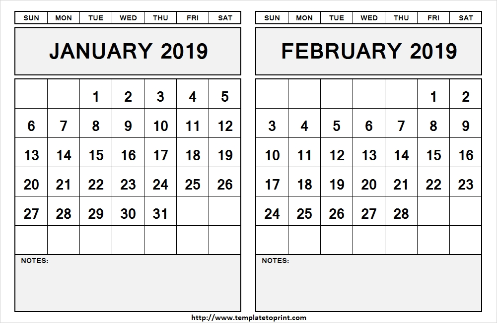January February 2019 Calendar With Notes