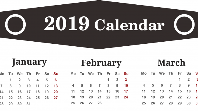 January February March 2019 Calendar Planner