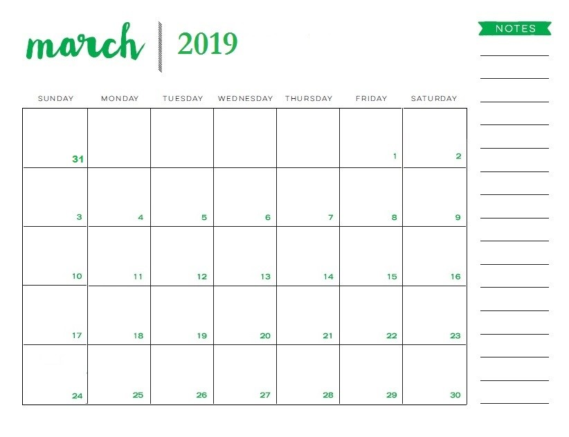 March 2019 Blank Calendar With To Do List Monthly Planner