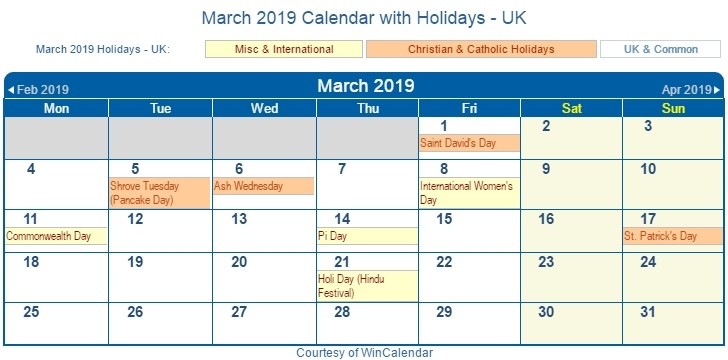 March 2019 Calendar With Holidays UK
