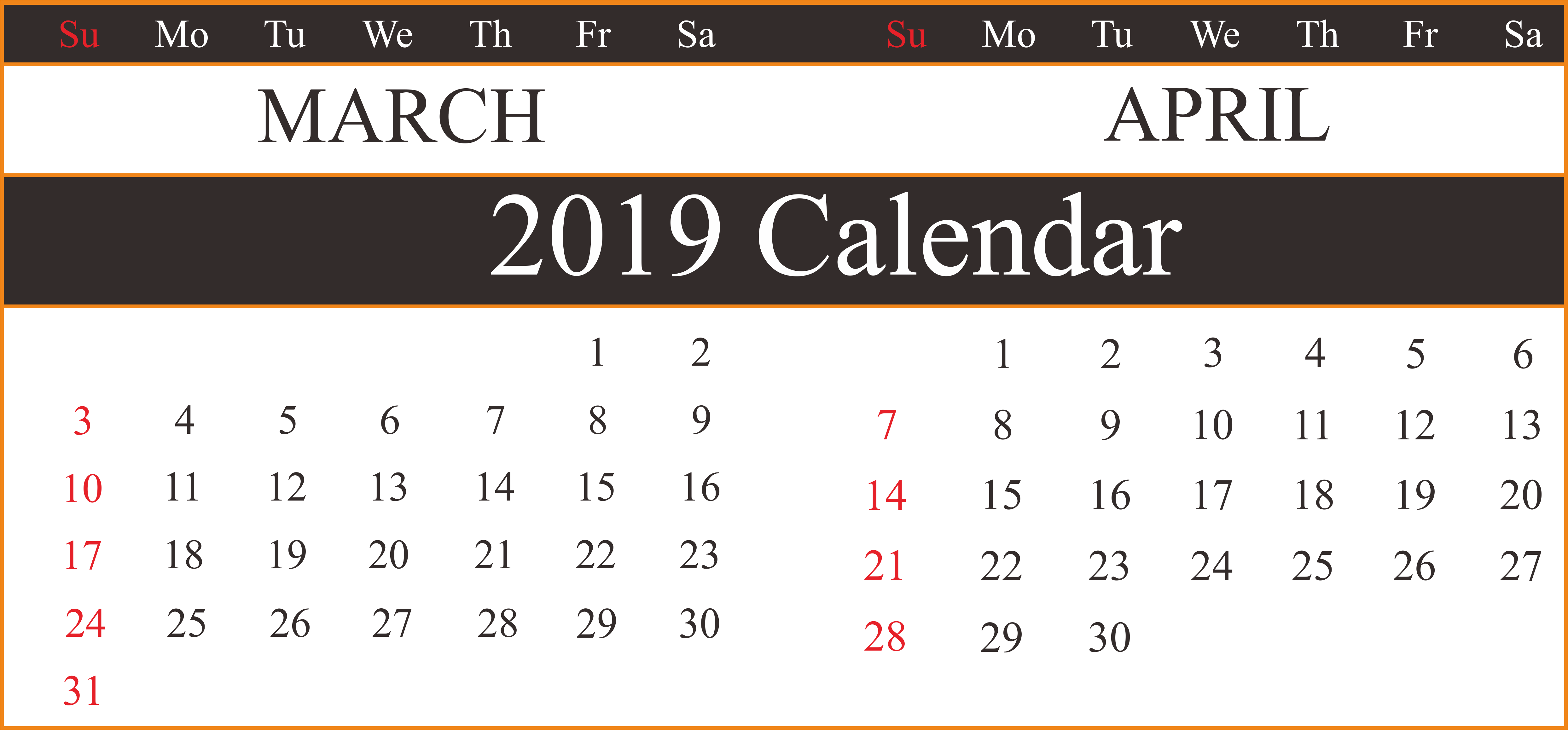 March April 2019 Calendar Template