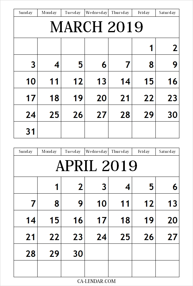 March April 2019 Calendar Free Printable