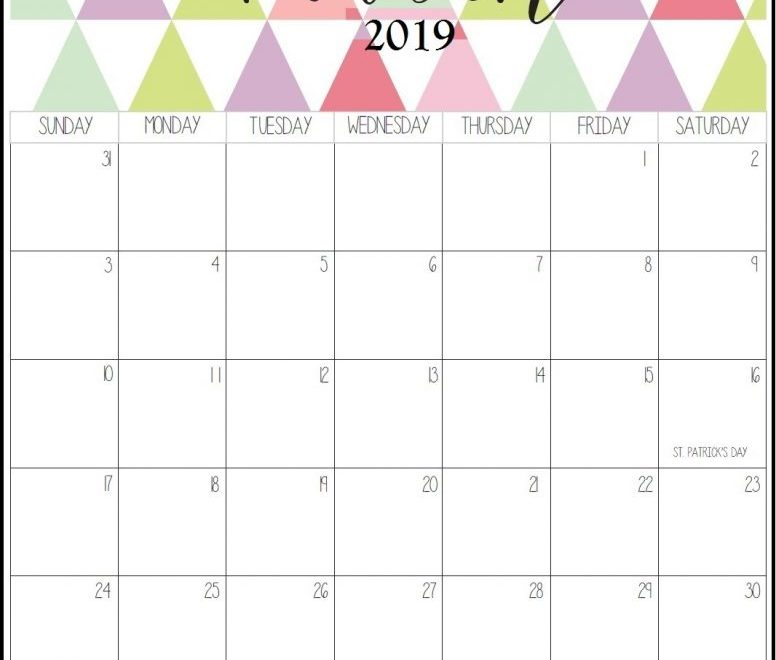 March Monthly Calendar 2019 With To Do List