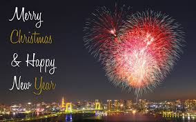 Merry Christmas and Happy New Year 2019 Fireworks