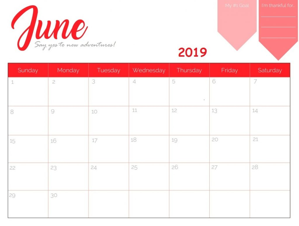 June 2019 Calendar Printable Template With Holidays