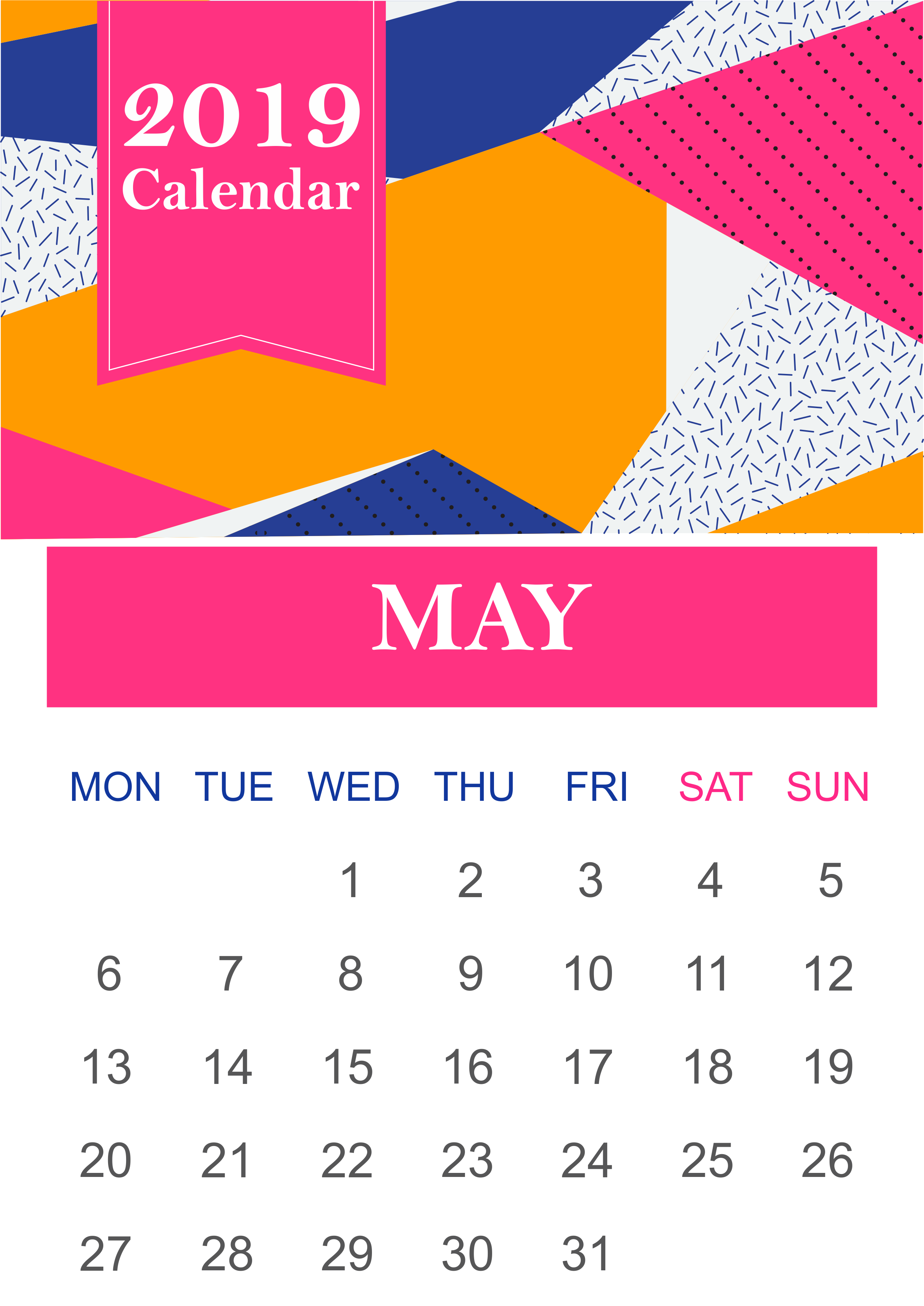 Monthly May 2019 Wall Calendar