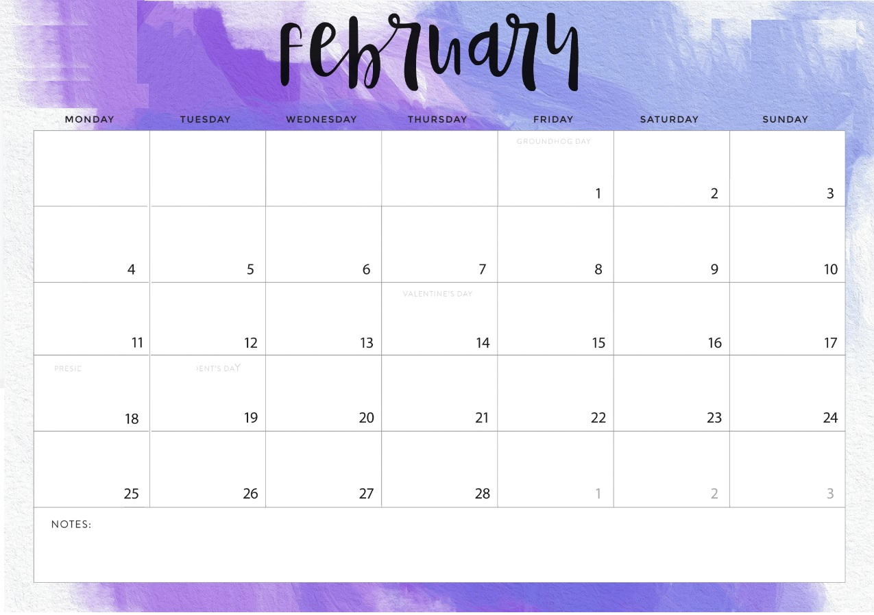 Monthly Printable February 2019 Desk Calendar