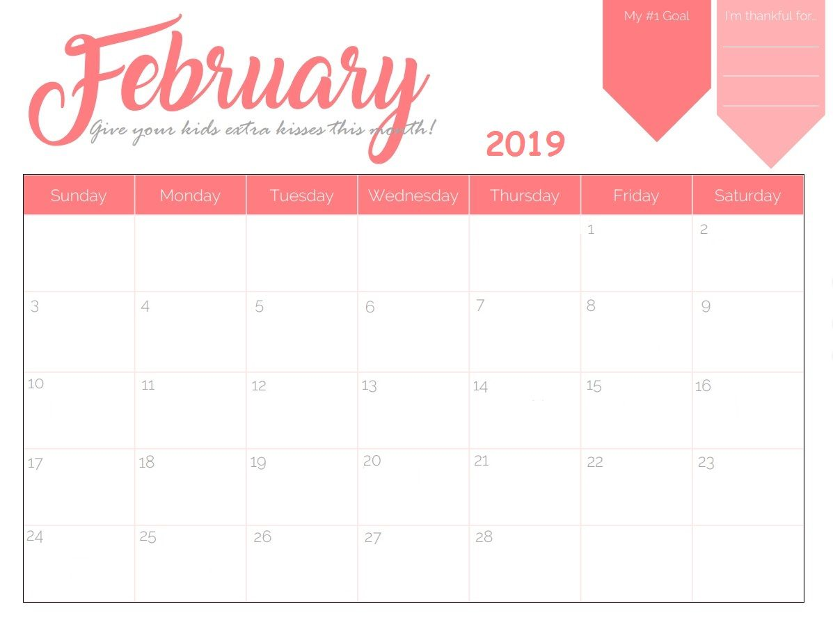 Monthly Wall Calendar February 2019