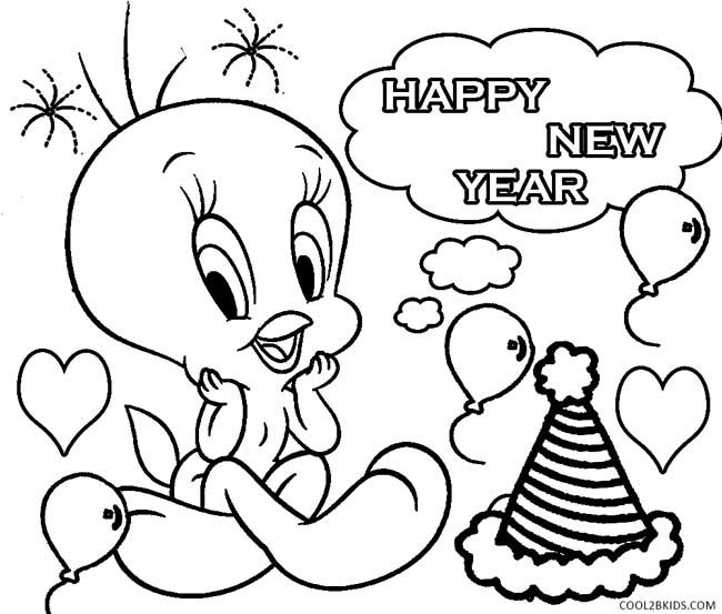 New Year Coloring Pages, Color Sheets