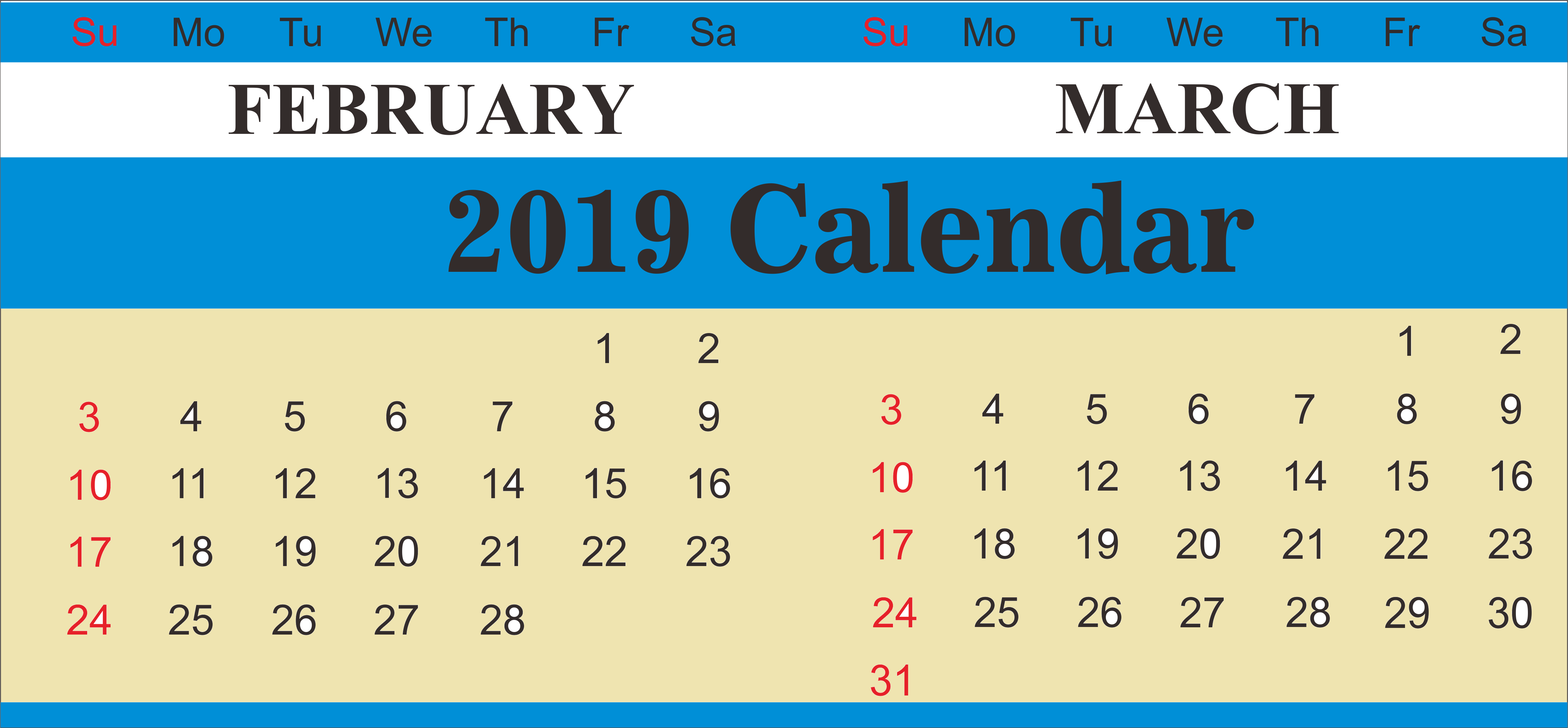 Printable Free February March 2019 Calendar Planner