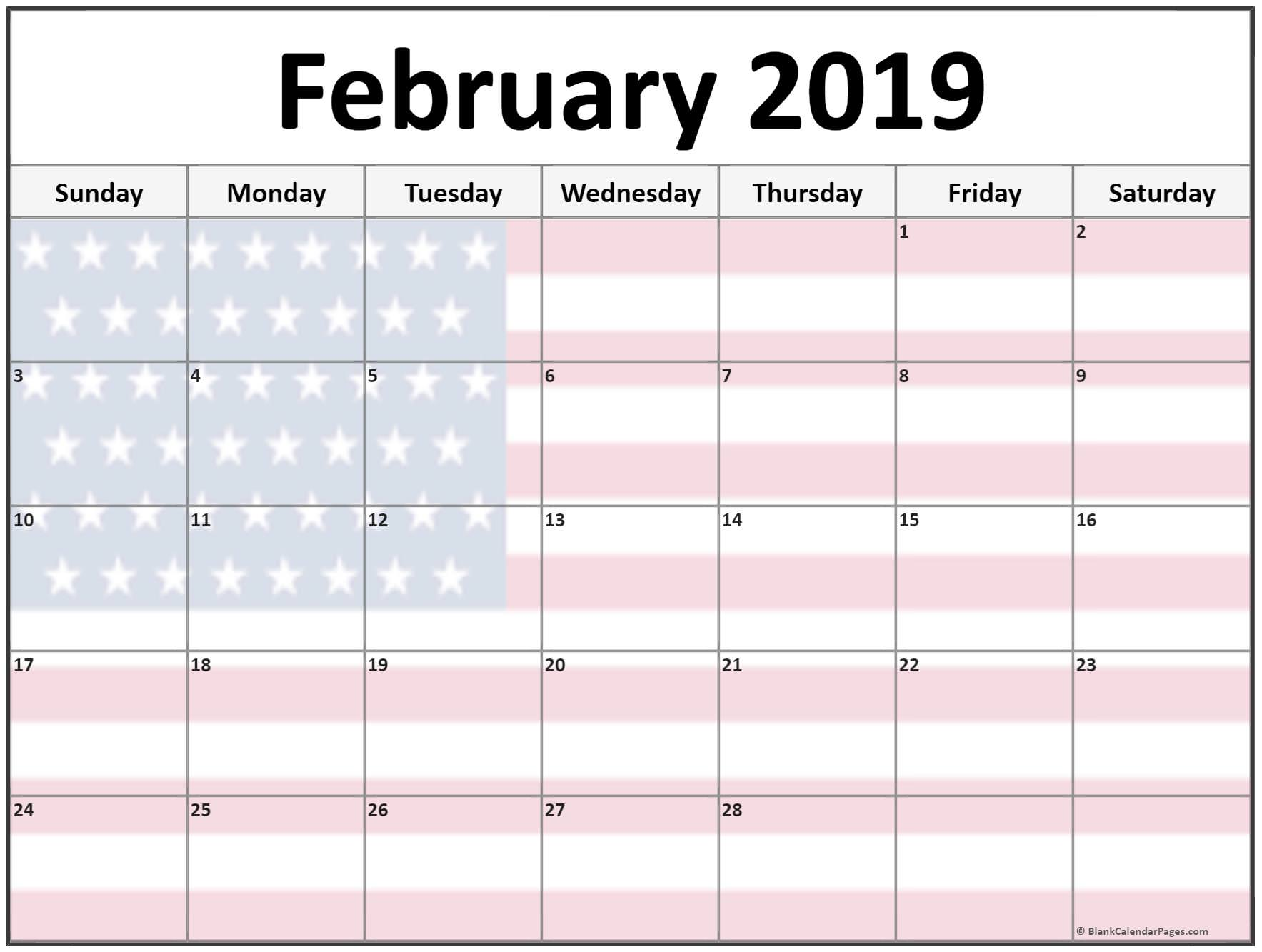 Printable Monthly Calendar February 2019