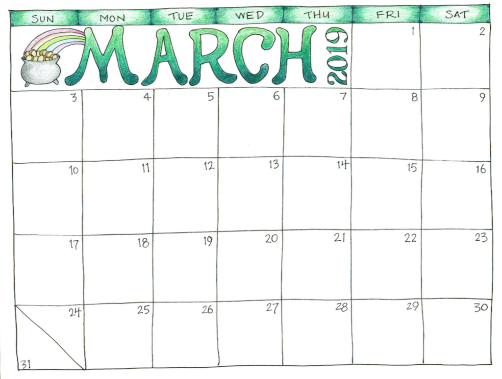 March 2019 Calendar Printable Template With Holidays