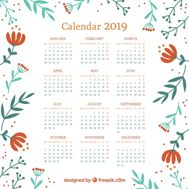 2019 Yearly Floral Calendar