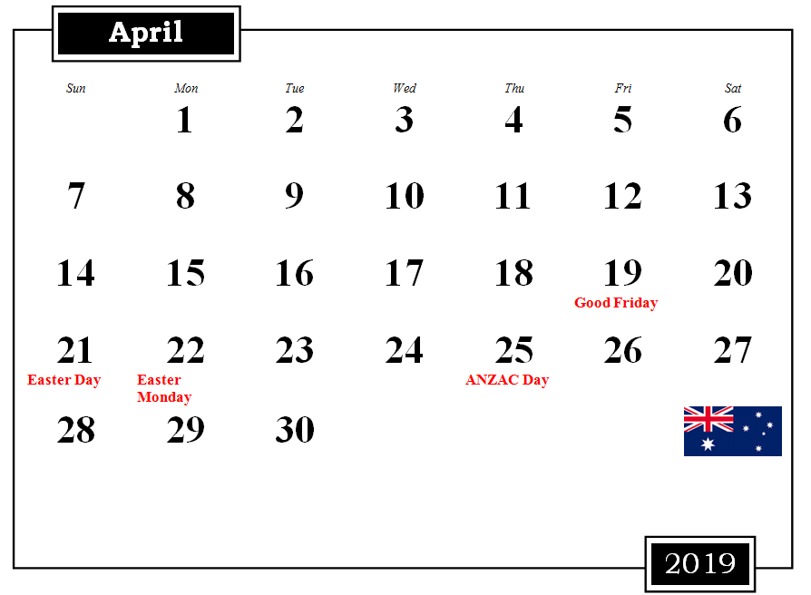 April 2019 Australia Calendar With Holidays