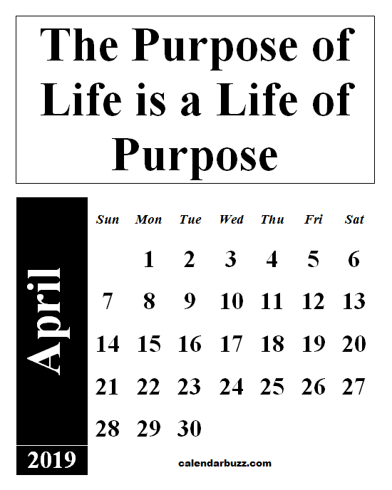 April 2019 Calendar With Quotes And Sayings