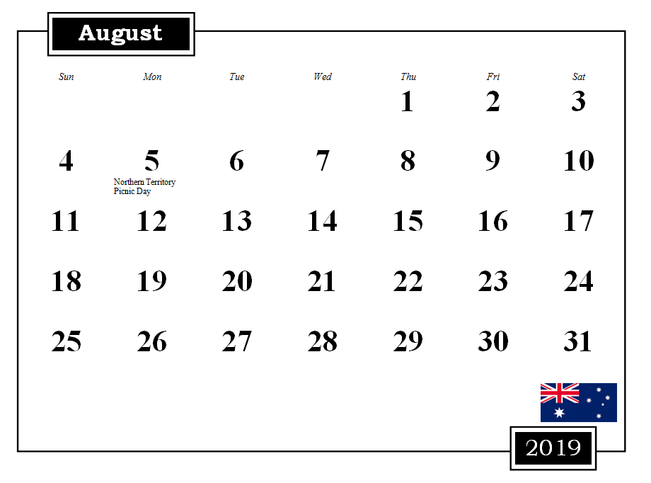 August 2019 Australia Calendar With Holidays