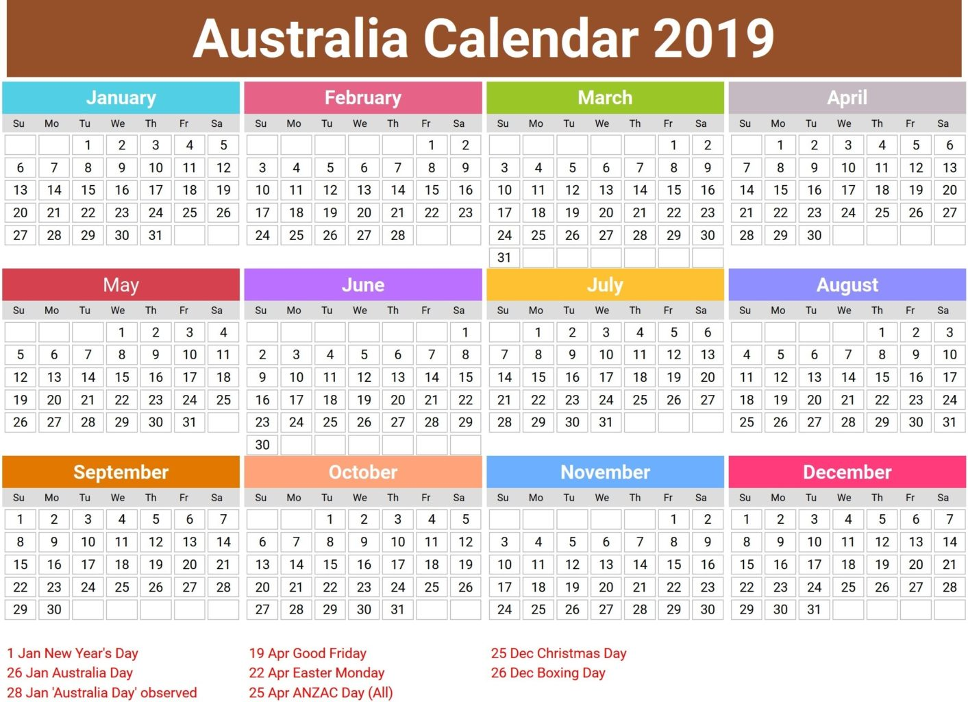 Australia 2019 Calendar With Holidays