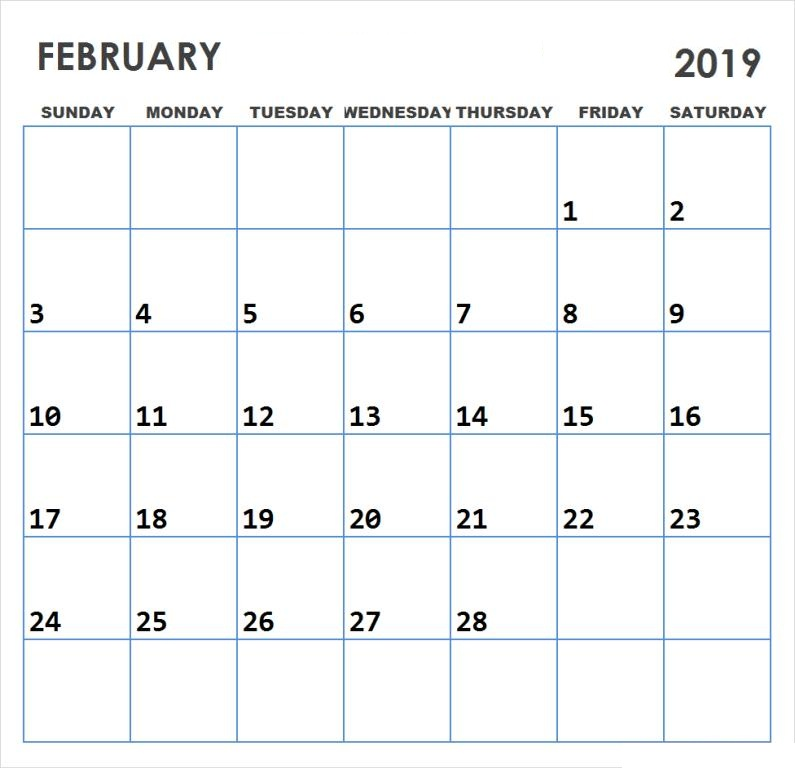 Cute February 2019 Calendar Printable Pictures