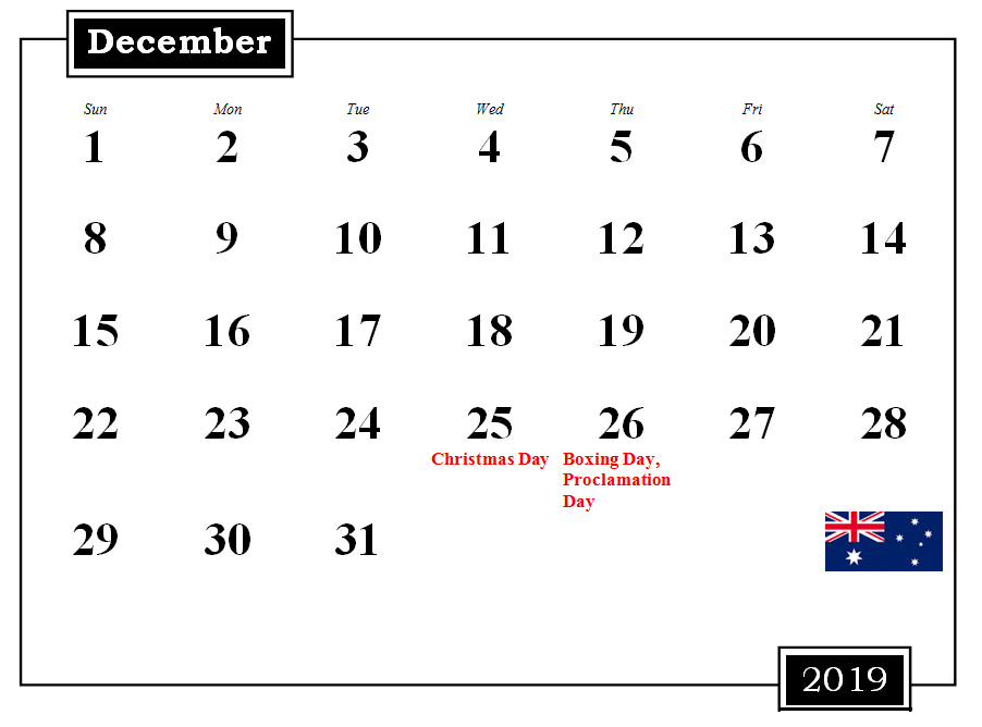 December 2019 Australia Calendar With Holidays